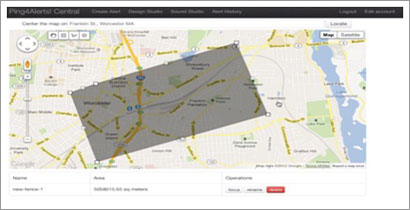 Screenshot of Ping4Alerts' geofence technology that enables government entities to pinpoint the location of cellular phones using their application