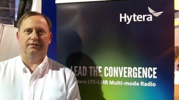 Hytera: Steve Cragg showcases prototype of company's new DMR-LTE multimode handset
