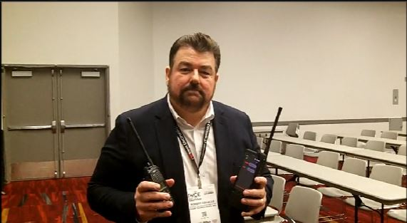 Sonim: Bob Escalle demonstrates capabilities of SLED, enabling LMR comms with a rugged LTE device